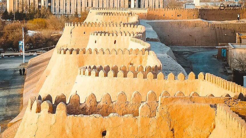 thick mud city walls surrounding Khiva