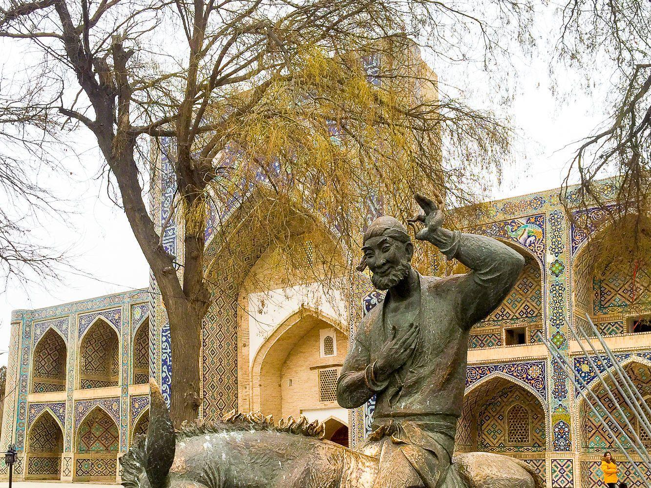 Hodja Nasredin statue in Bukhara, Uzbekistan travel, Central Asia Tourism