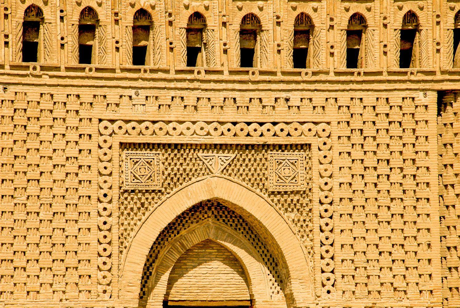detailed brickwork on samanid mausoleum in Bukhara, Uzbekistan travel