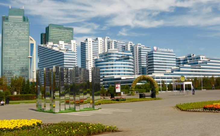 glass apartment buildings in Astana during EXPO 20017 Tour