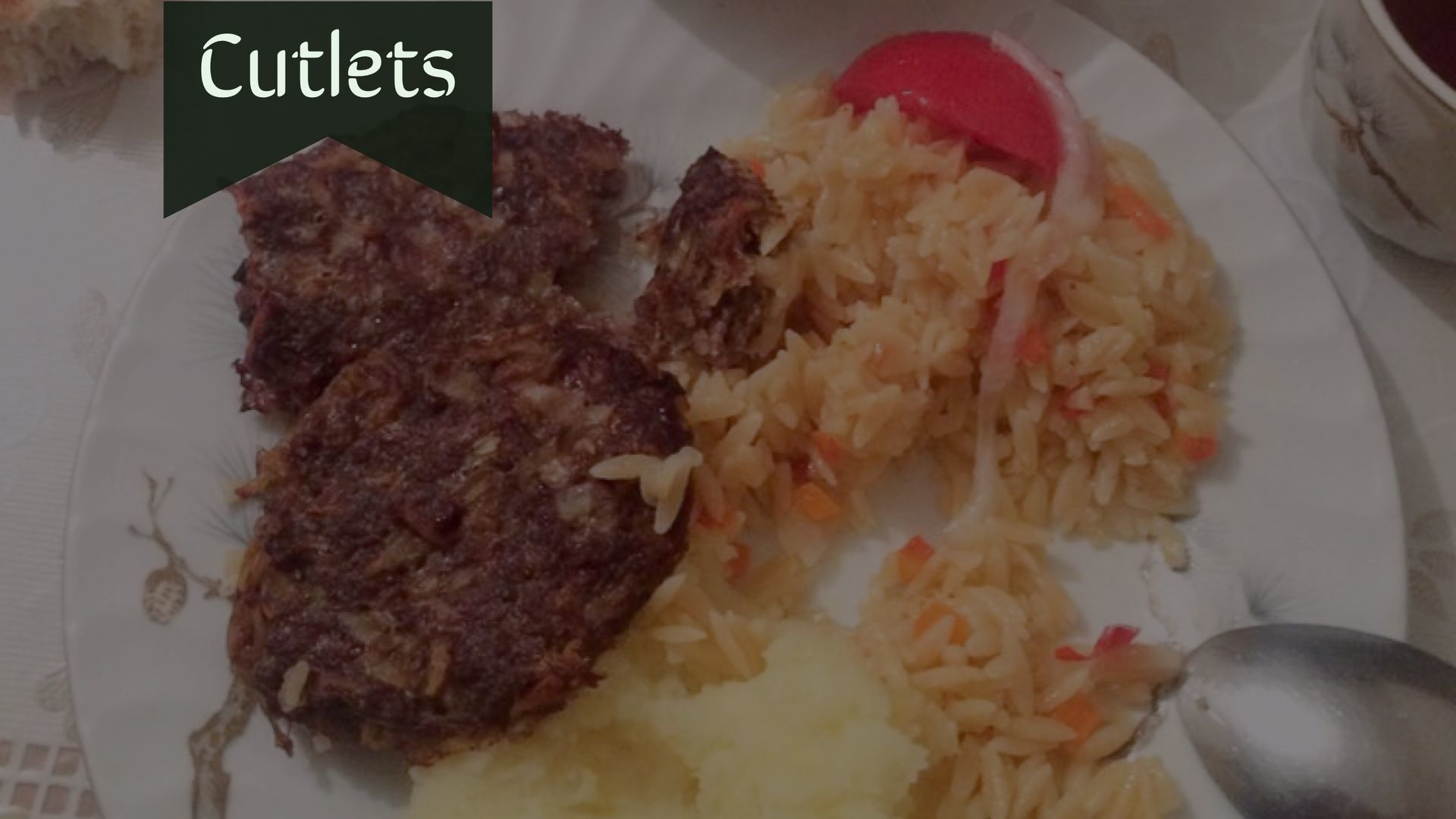 Cutlets with garnish in Central Asia