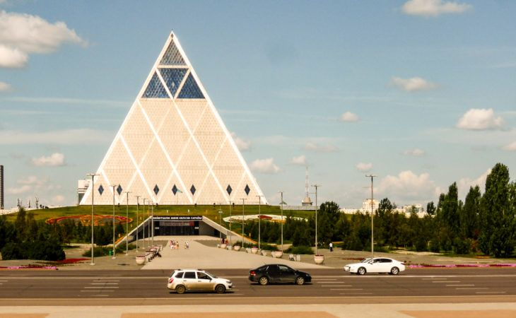 Glass pyramid Astana during World EXPO 2017 tour
