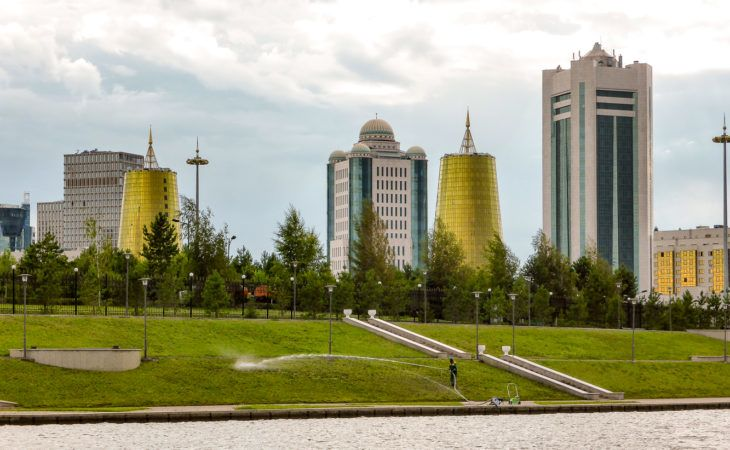Astana city view with golden buildings in Expo 2017 tour