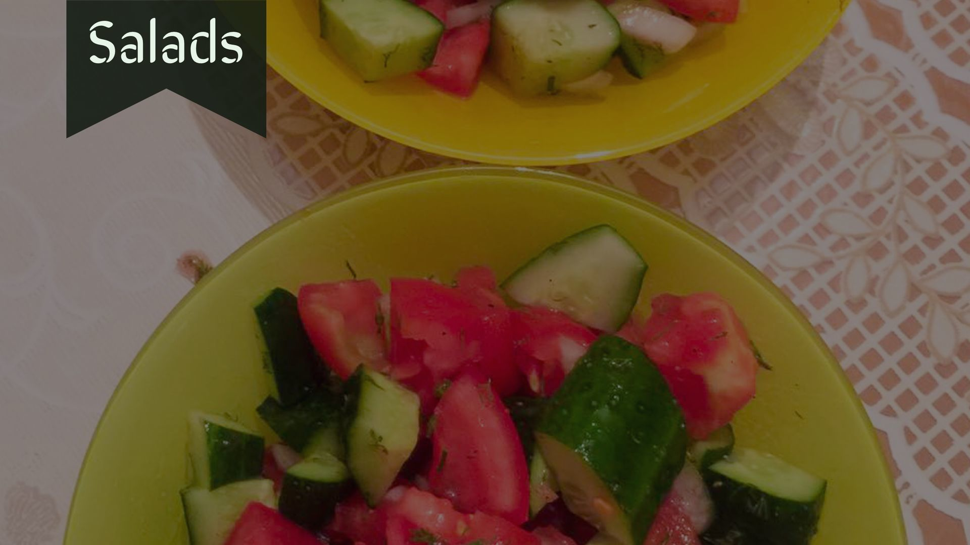 Fresh Salads in Central Asia, cucumber and tomato salad