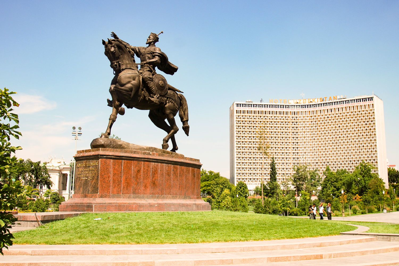 Statue Temirlan in Tashkent during Uzbekistan & World Expo 2017 Tour