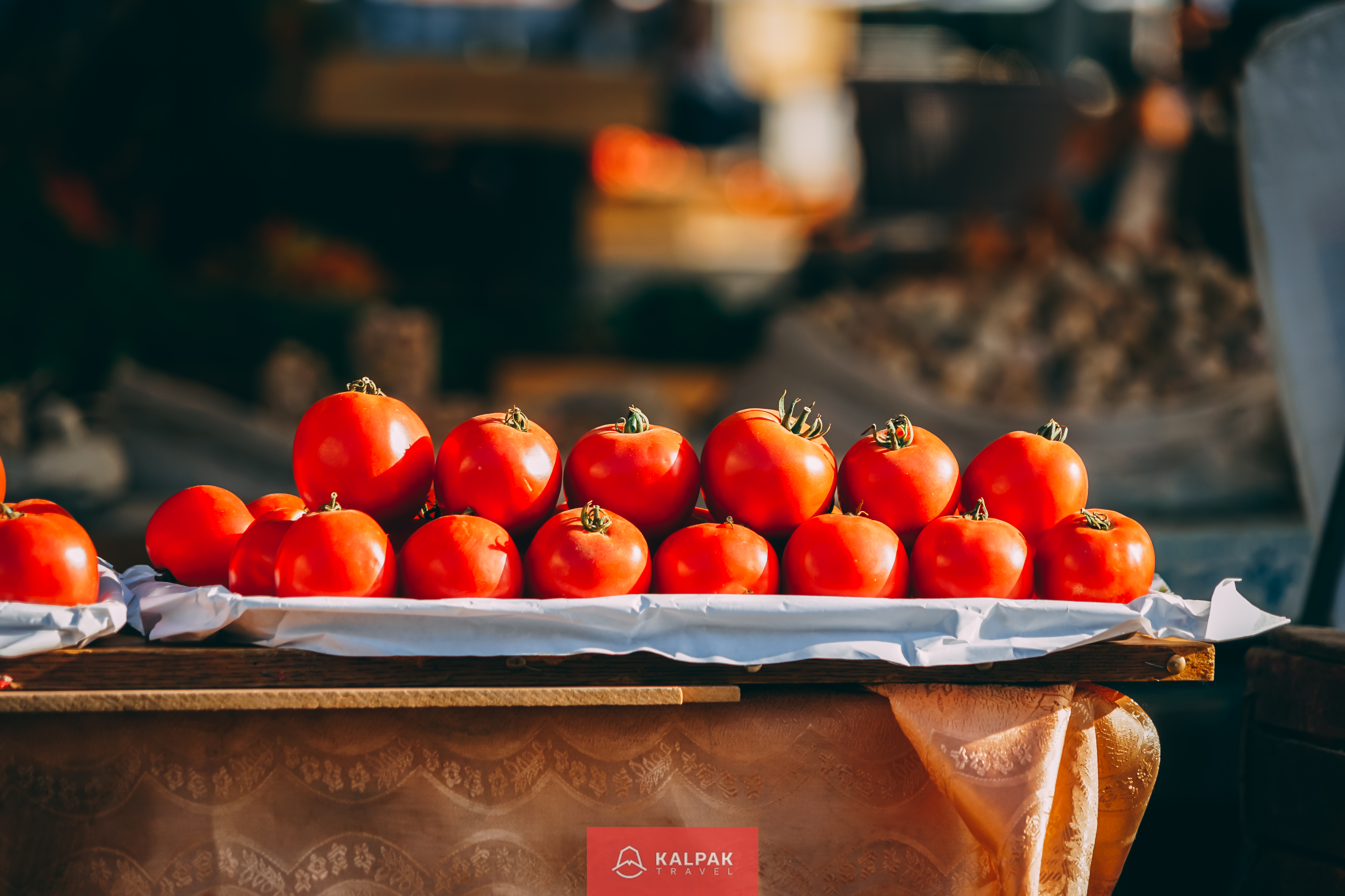 Central Asian vegatables in market, tomatoes