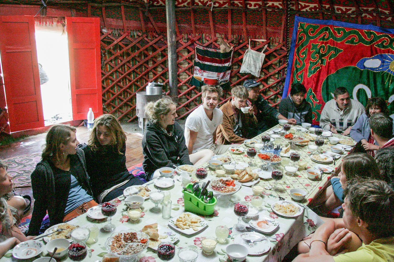 Kyrgyzstan travel: eating in a yurt