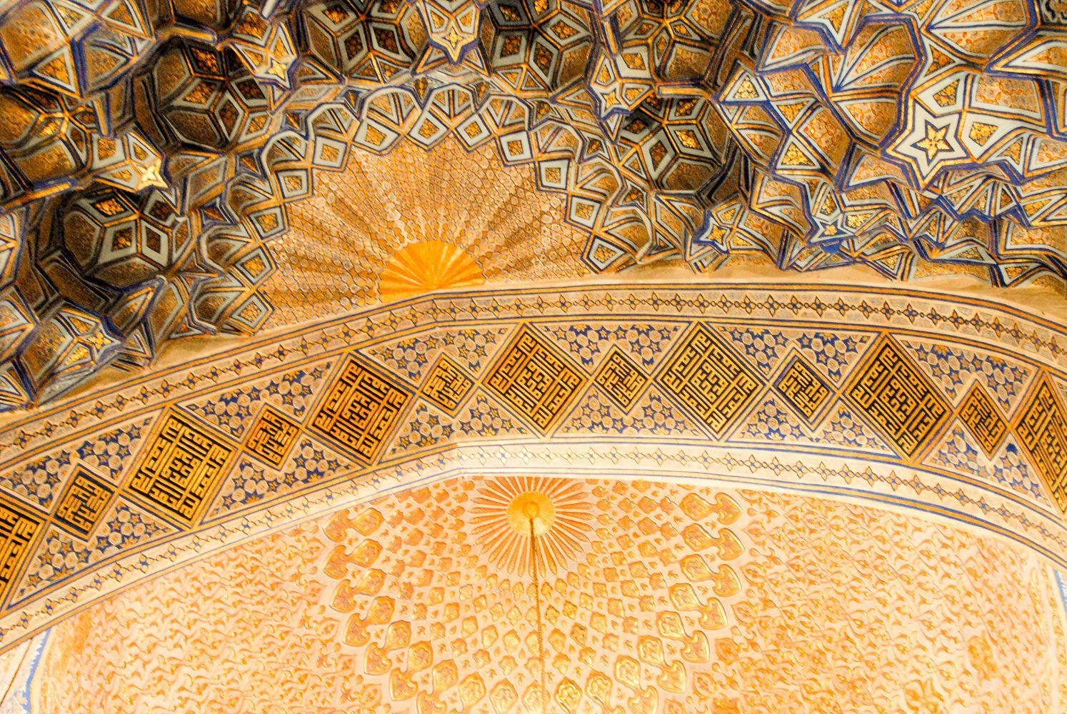 golden interior decoration of Samarkand, Uzbekistan