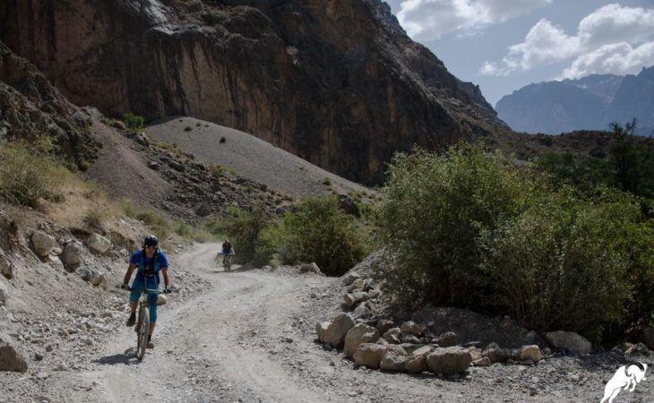 mountain biking in roads of Tajikistan, Central Asia
