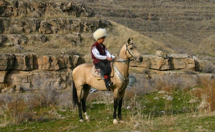 Turkmen men on Akhal Teke Horse Turkmenistan