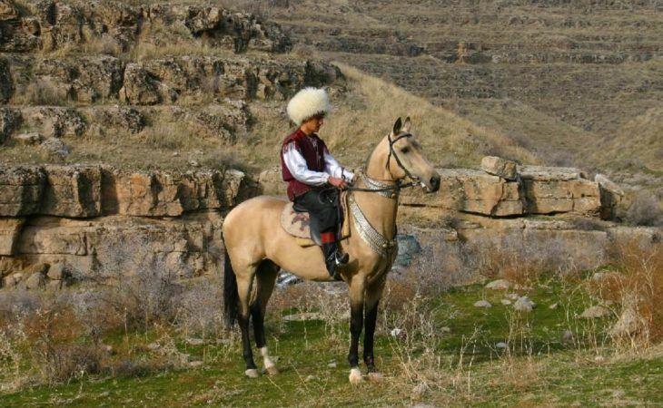 Turkmen Man on Akhal Teke Horse Turkmenistan