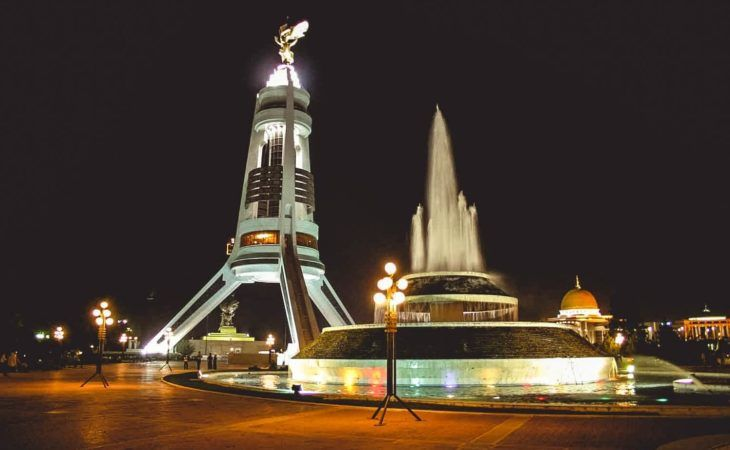 Ashgabat lights by night Turkmenistan