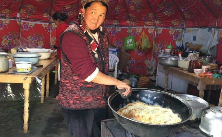 Kygyz Lady Cooking in Yurt