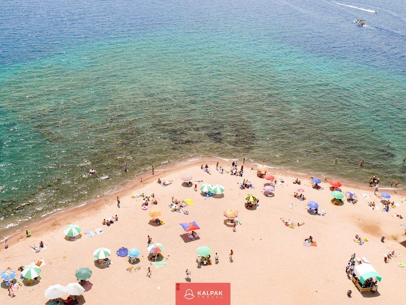 Kyrgyzstan, good weather, beach in summer