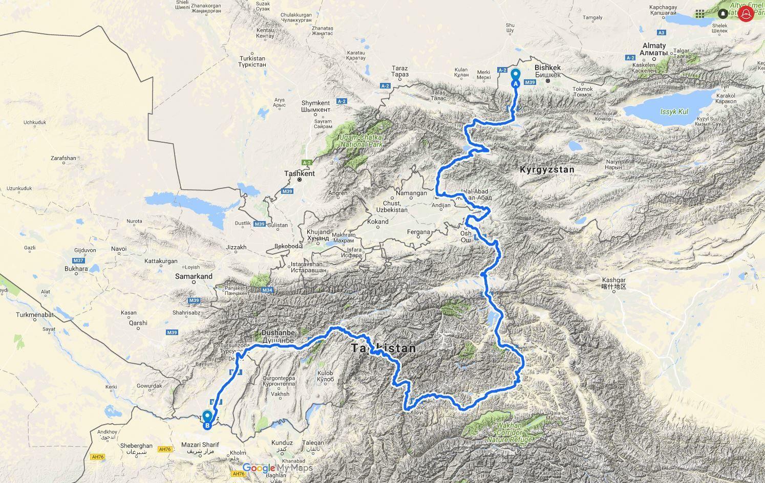 M41 map through Pamir Highway