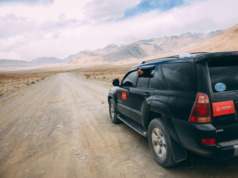 car on Pamir Highway road
