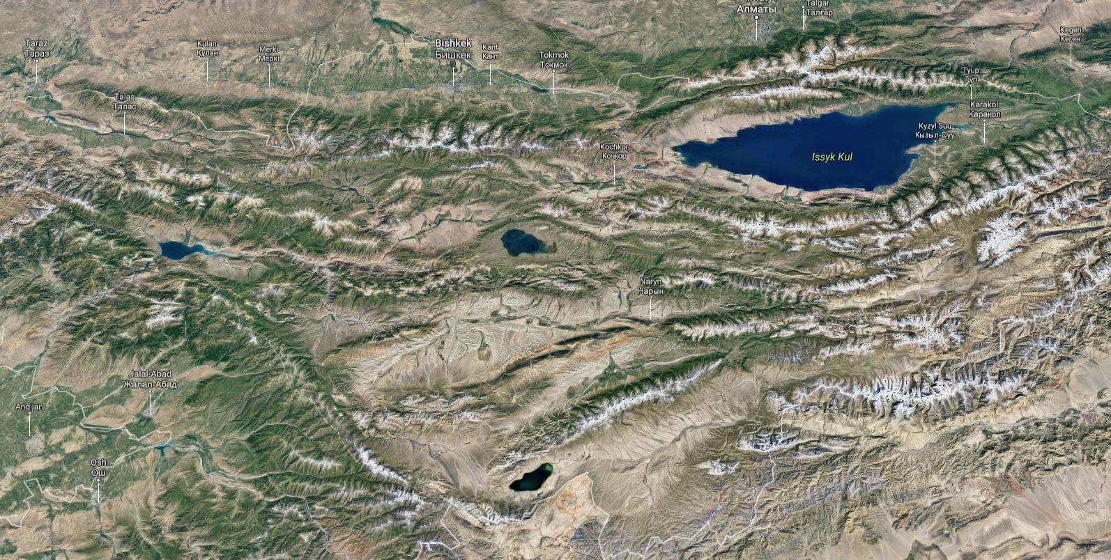 Kyrgyzstan on google satellite map