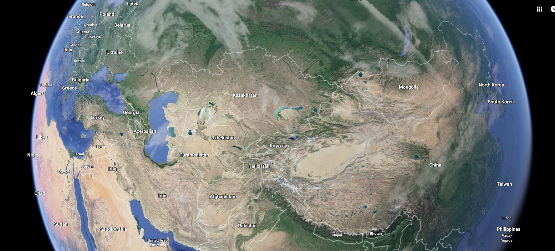 Kyrgyzstan on the google world map