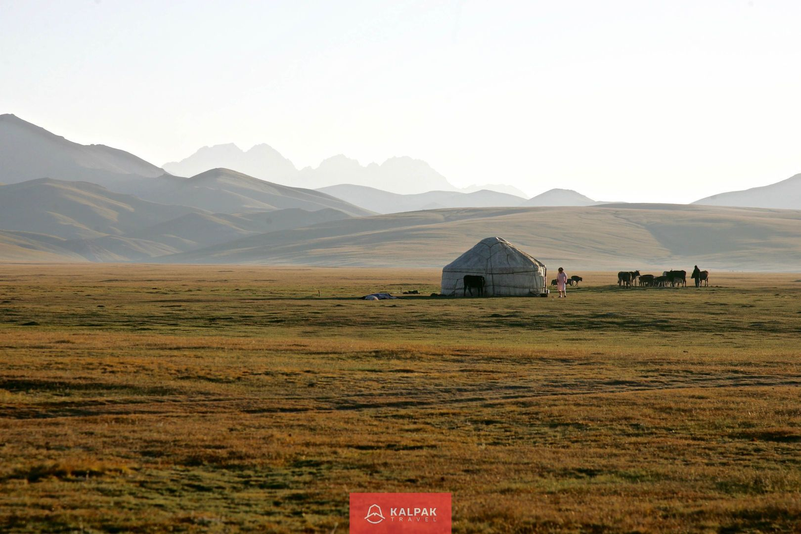 Central Asia with yurts