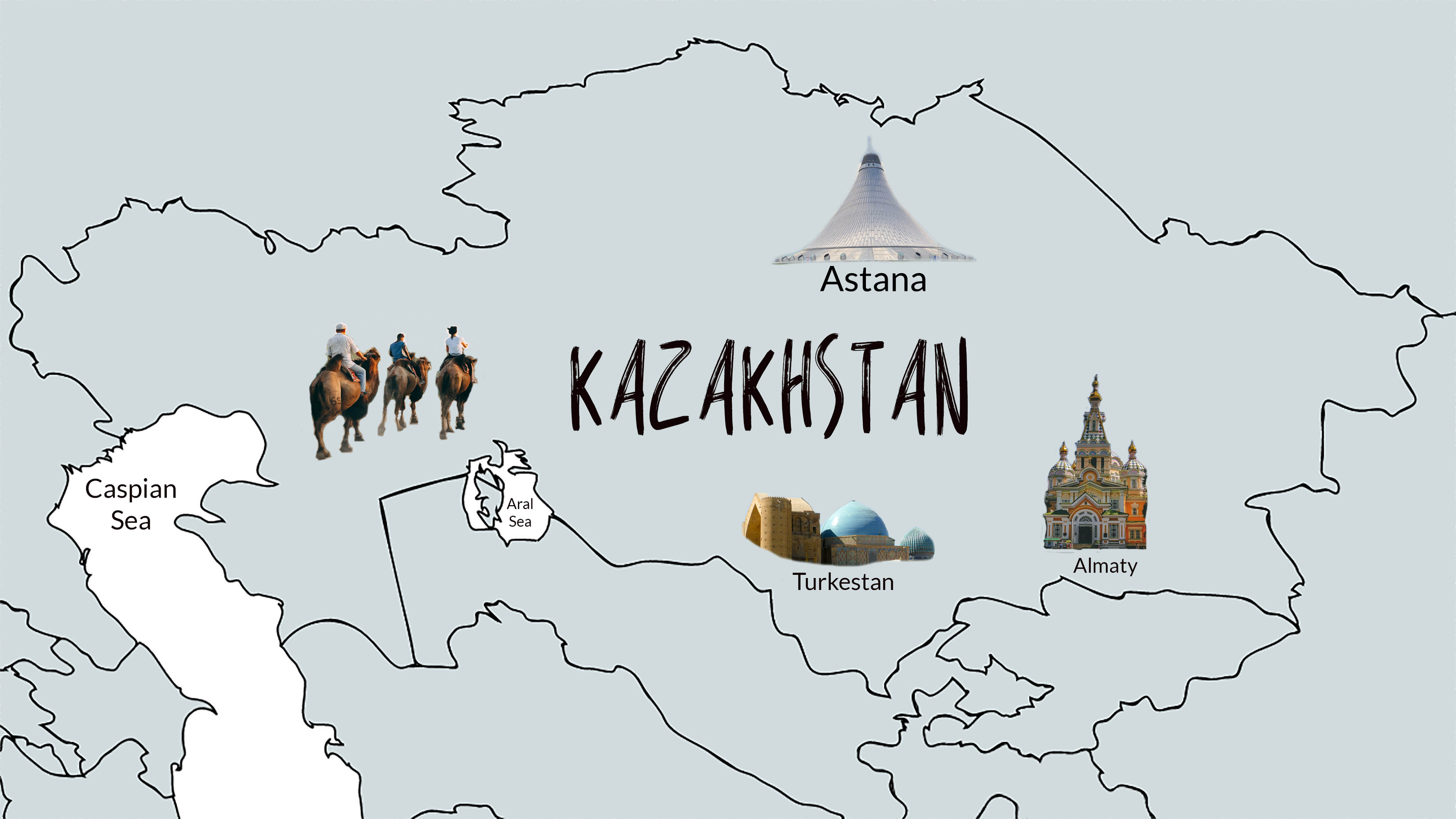 Kazakhstan map with major travel highlights