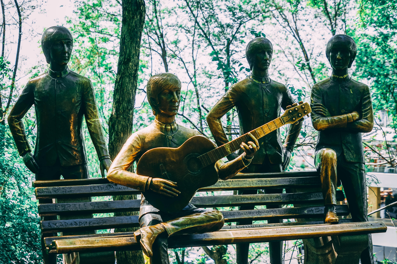 Beatles statue in Almaty at Kok Tobe Hill