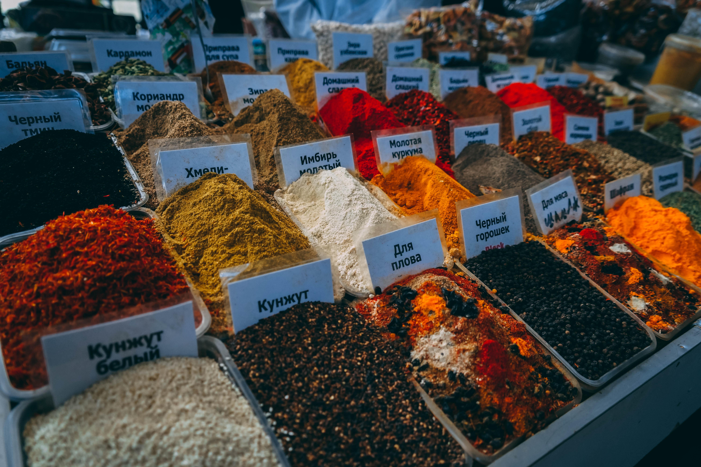 spices in Almaty Green Bazaar