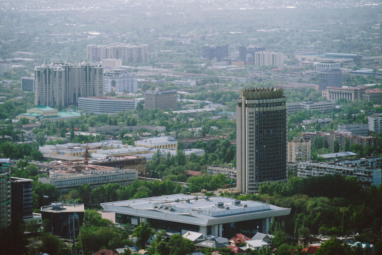 Hotel Kazakhstan view from funicular in Almaty