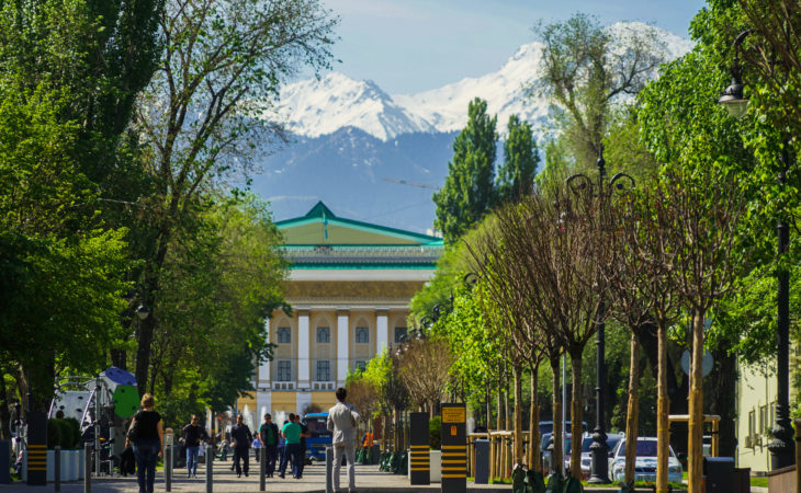 Almaty main walking alley for sightseeing