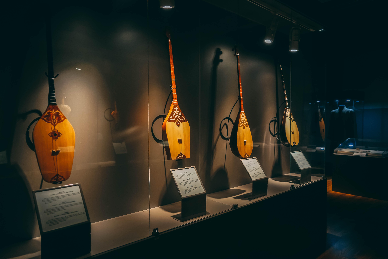 Kazakh national musical instuments in Almaty museum