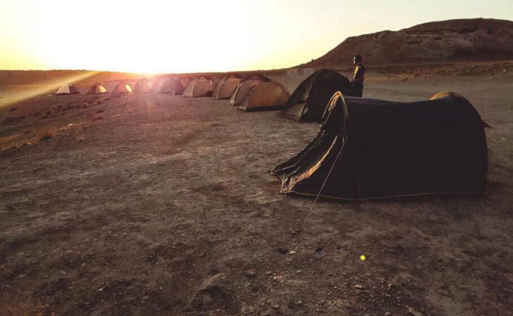 Central Asia camping at Darvaza